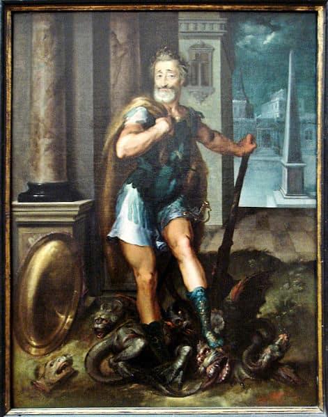 הנרי הרביעי מביס את ההידרה מרובת הראשים. הציור מסביבות 1600 מאת Toussaint Dubreuil