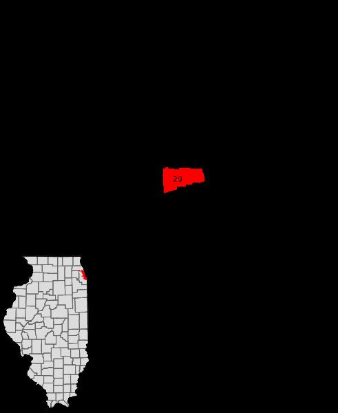 נורת׳ לונדייל מסומנת באדום במפה של שיקאגו