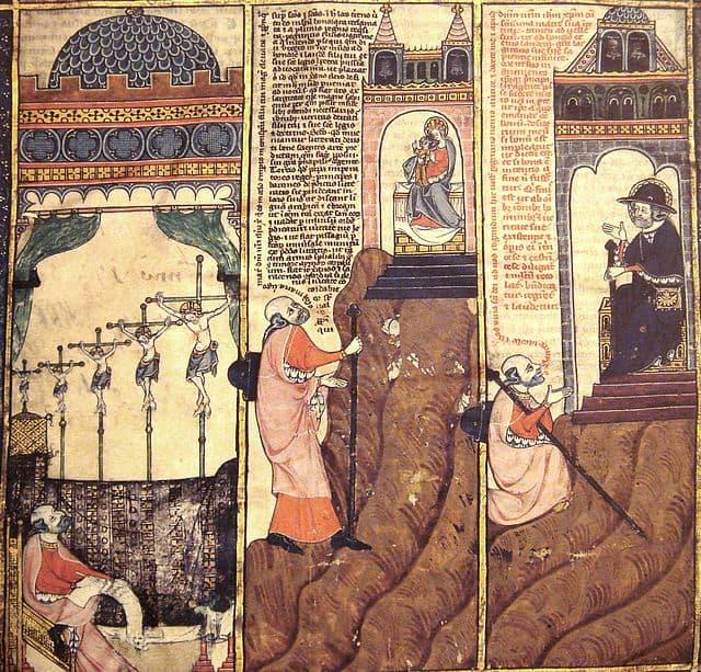רמון ליול רואה את ישו הצלוב חמש פעמים ומחליט להתמסר לנצרות. ציור מהמאה ה-14.