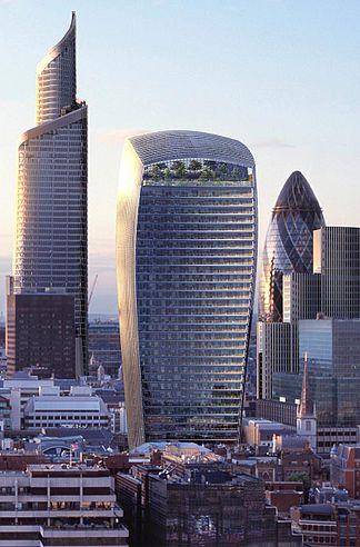 בניין הווקי טוקי במרכז ובניין ה״שארד״ מימין במזרח לונדון. צילום: DASHBot