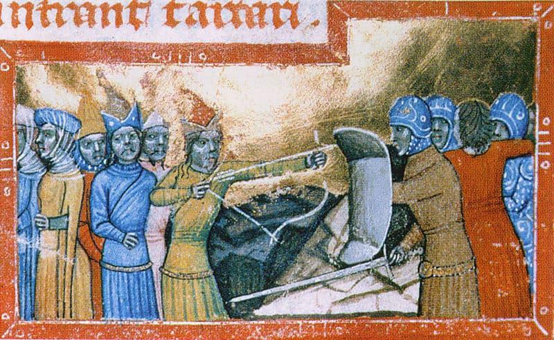ג׳ינגיס חאן פולש להונגריה, 1285. איור מסביבות המאה ה-14. אמן לא ידוע