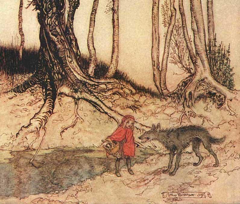 כיפה אדומה מאת ארתור רקהאם