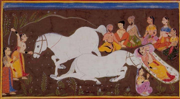 תיאור של פולחן הקרבה בראמאיאנה, אחד מיצירות הספרות ההודית החשובות המגוללת את סיפור עלילותיו של האל והמלך ראמה, 1652.