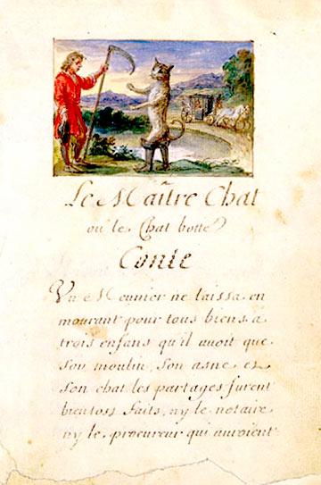 ״חתול במגפיים״, של שארל פרו מתוך המהדורה הראשונה במאה ה-17.