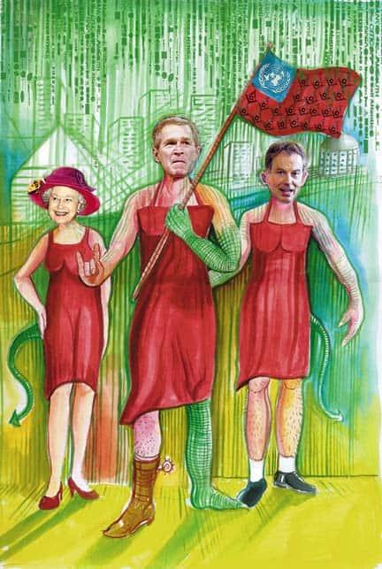 דימוי מספרו של אייק המראה את טוני בלייר, ג׳ורג׳ וו. בוש והמלכה אליזבת השנייה בשמלות אדומות, המייצגות את ״האחווה״