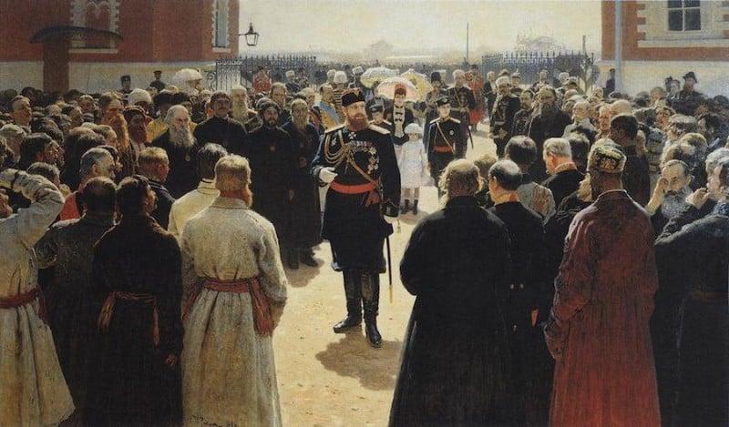 אלכסנדר השלישי בקבלת פנים בחצר של טירת פטרובסקי במוסקווה. ציור מאת איליה רפין