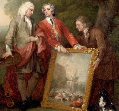 אספן האמנות והארכיטקט החובב אנדרו פאונטיין מצד שמאל בציורו של ויליאם הוגארת׳ הבריטי. הציור מוצג באוסף הקבוע של מוזיאון פילדלפיה בארה״ב