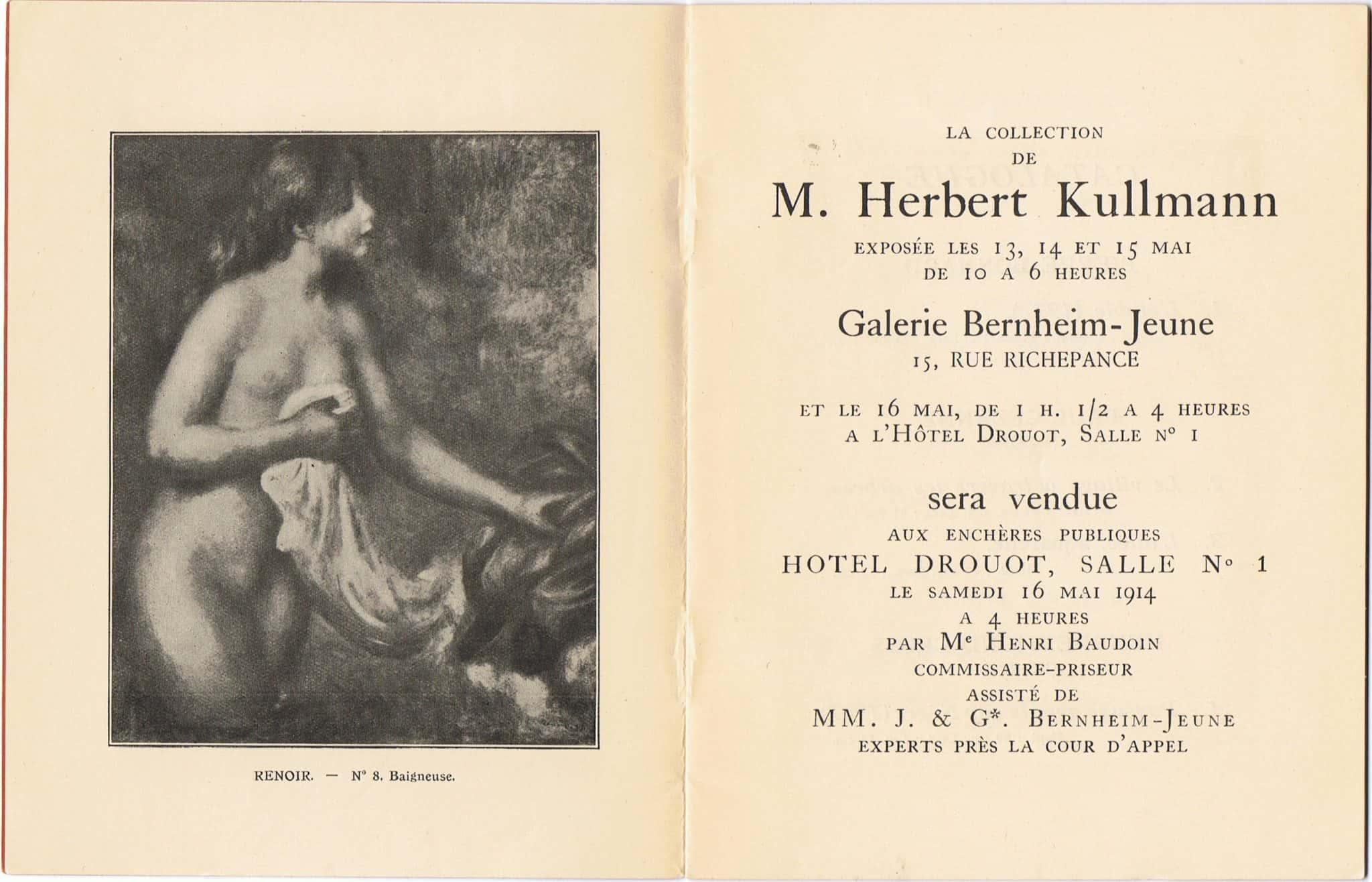 קטלוג המכירה הפומבית בהוטל-דרואו שבה הועמד למכירה הציור של רנואר, 1914.