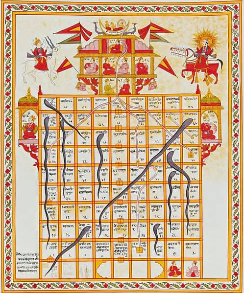 לוח הודי של סולמות ונחשים מהמאה ה-19