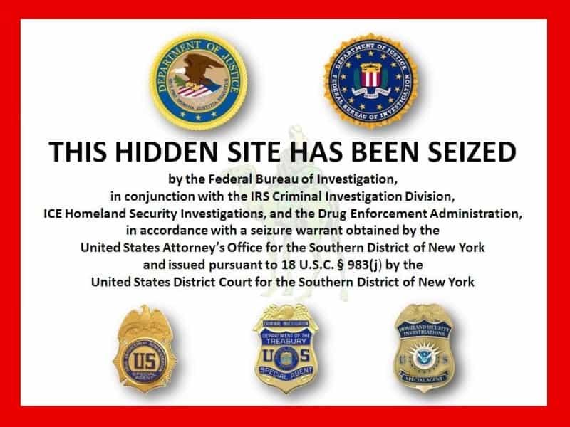 הודעת ה-FBI על סגירת אתר ״דרך המשי״