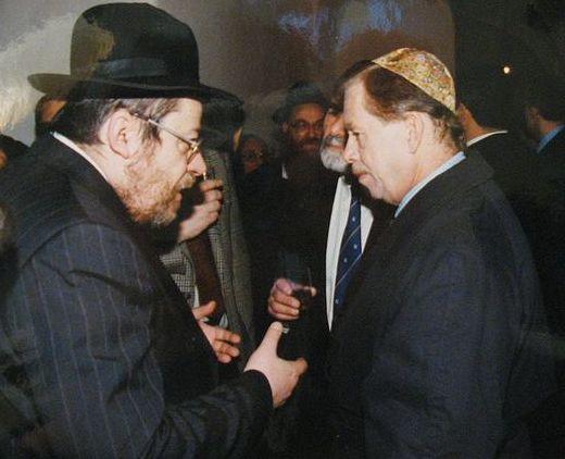 ואצלב האוול עם קארול סידון, הרב הראשי של צ׳כה לשעבר. צילום: טל מידבי