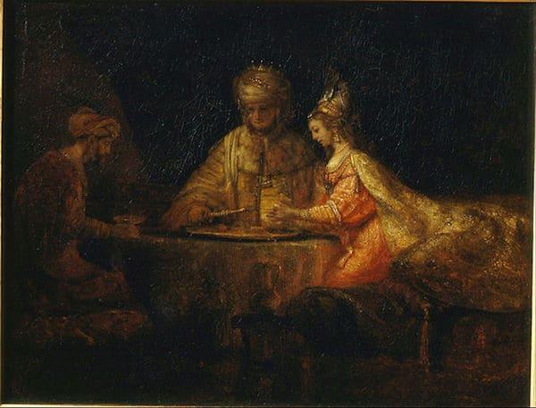 רמברנדט, אחשוורוש והמן במשתה אסתר