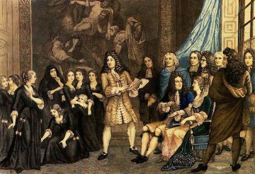 """רסין מציג את המחזה """"אסתר"""" בפני המלך לואי 14 ובפני נערות הפנימיה. ציור מ1830. יוצר לא ידוע."""