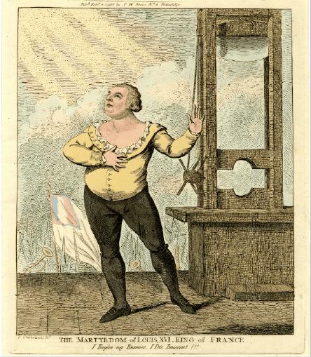 """המרטירדום של לואי ה-16, מלך צרפת.  """"אני סולח לאויביי.  אני מת תמים"""".  רישום בצבע 1789"""