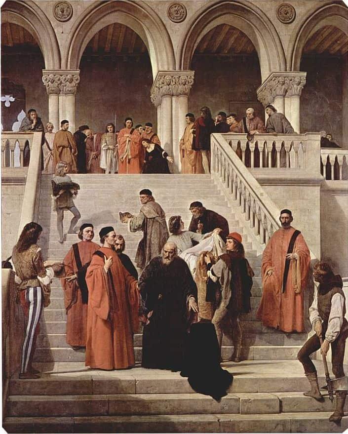 """""""מותו של הדוג׳ה״ מאת פרנצ'סקו אייץ, 1867"""