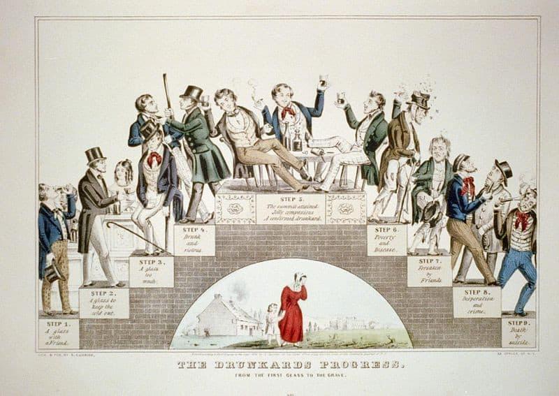 ליטוגרפיה משנת 1846 המתארת את תהליך ההתמכרות לאלכוהול. באדיבות ספריית הקונגרס האמריקאי