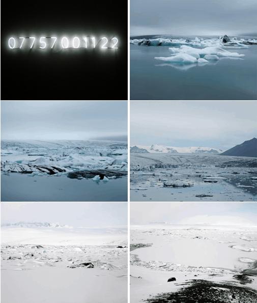 מתוך עבודה של פטרסון ״ The Sound of Vatnajökull״. למעלה משמאל מופיע מספר הטלפון שאליו ניתן לחייג ולשמוע את הקרחון נשבר.