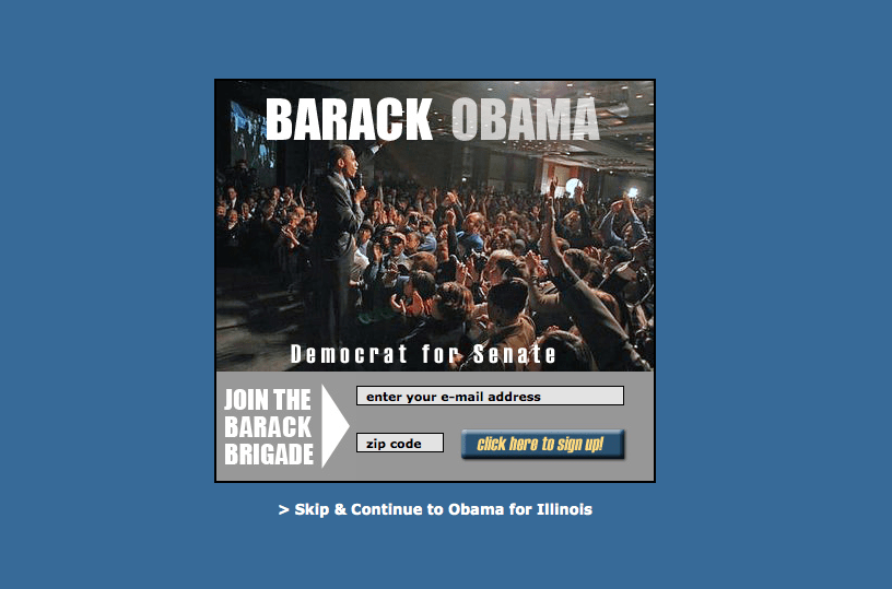 אתר של הקמפיין של ברק אובמה בעת המרוץ לבחירות לסנאט.