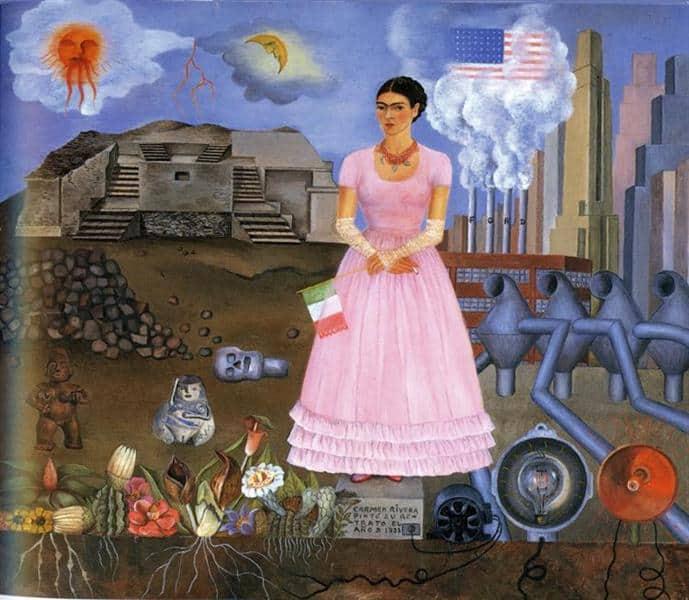 פורטר עצמי על הגבול בין מקסיקו לארצות הברית, מאת פרידה דאלו, 1932.