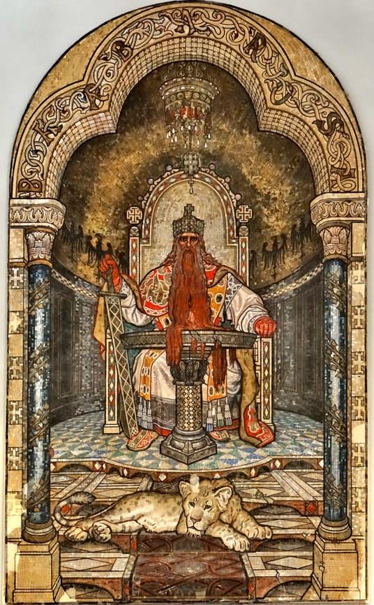 פרידריך ברברוסה בתמונת פסיפס המוצגת בכנסיית אוגוסטה ויקטוריה
