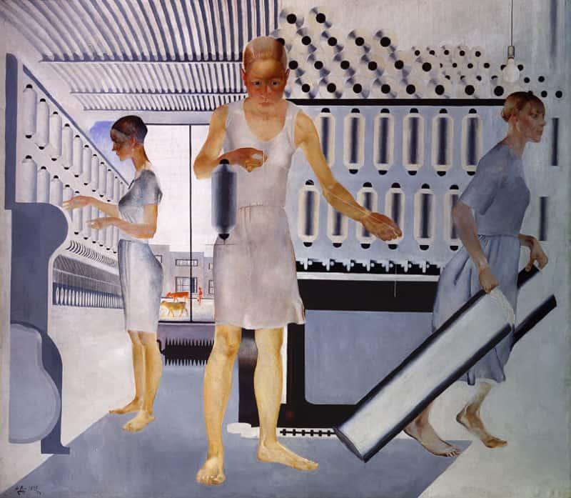 """""""פועלות בתעשיית הטקסטיל״ מאת אלכסנדר דיינקה."""