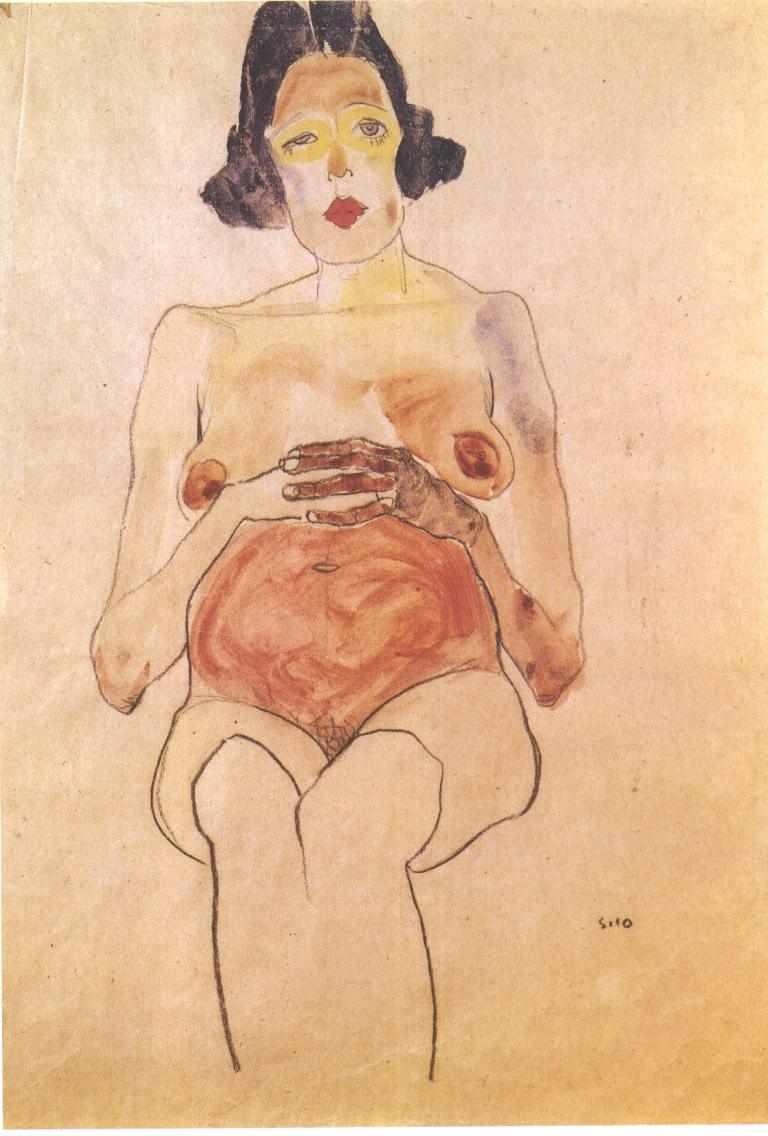 ״אישה בהיריון עם בטן אדומה,״ מאת אגון שילה