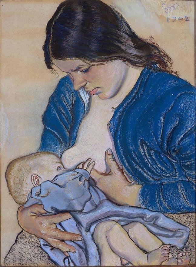 אם מניקה את התינוק שלה, מאת סטניסלב ויספיאנסקי, 1902.