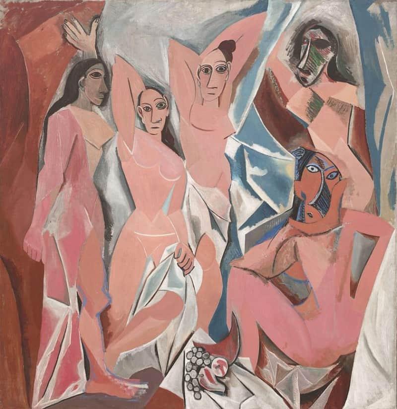 """״העלמות מאביניון"""" מאת פיקאסו, 1907."""