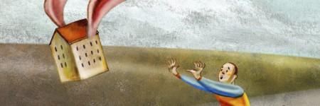 גבר רץ אחרי בית מעופף