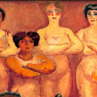 נשים עומדים בציור
