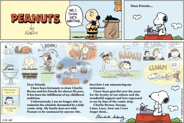 הרצועה האחרונה של הקומיקס ״פיאנטס, שפורסמה לאחר מותו של שולץ בשנת 2000.