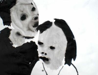 זוג בציור שחור לבן