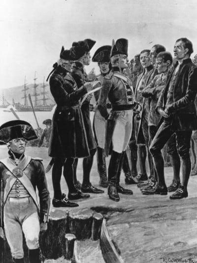 קפטן פיליפ בוחן אסירים באוסטרליה