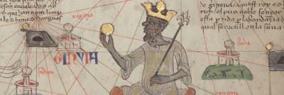 מאנסה מוסא על כס מלכותו. איור מתוך אטלס קטלאני עתיק.