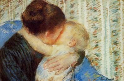 """מרי קסאט (1844-1926): """"אם וילד, חיבוק לילה טוב""""."""