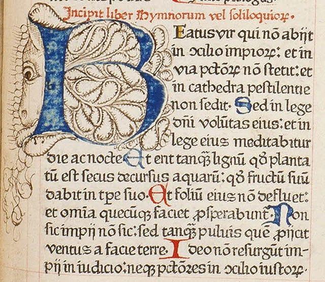 """איור למזמור תהלים """"אשרי האיש"""", כתב יד לטיני."""