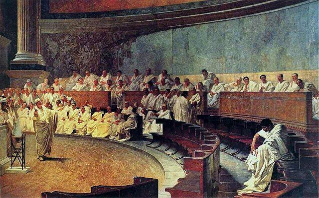 קיקרו חושף את קטילינה, ציור של צ'זרה מקארי