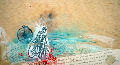קולאז' על קיר, איש עם אופניים