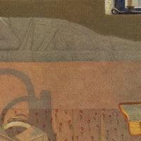 הדפס של אישה זקנה קוראת סיפור לילדה רדומה