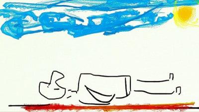תשישות, ציור של איש שוכב מותש