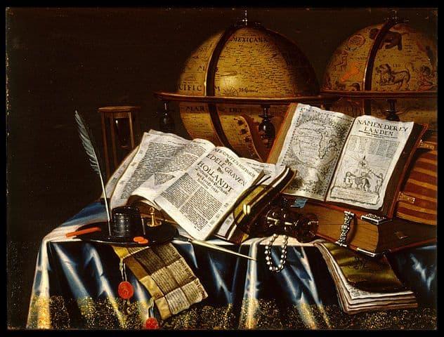 טבע דומם הולנדי, גלובוסים, ספרים ומכשירים