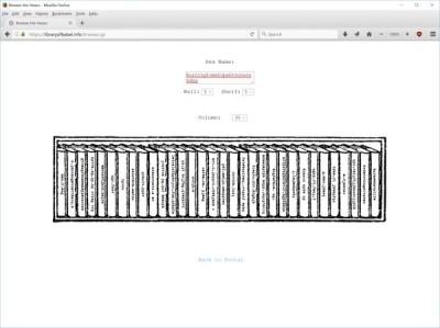 מדף באתר הספרייה של בבל של ג'ונתן בסיל