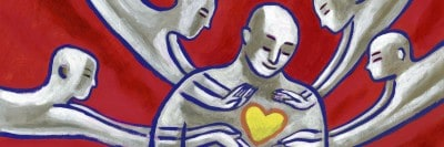 דמות מצוירת של אדם עם לב וחמלה עצמית
