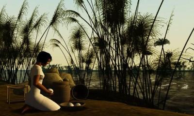 נערה מצריה על גדות הנילוס, במציאות מדומה