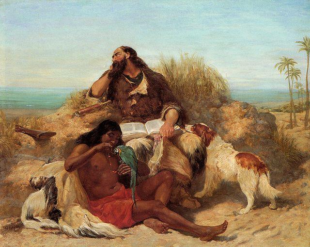 """""""רובינזון קרוזו ומשרתו ששת"""", ציור מאת ג'ון צ'רלס דולמן"""
