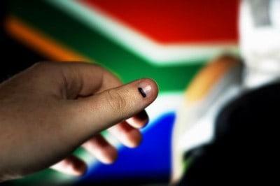 סימן בדיו של מצביע בבחירות בדרום אפריקה