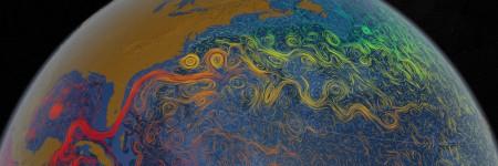 מראה מן החלל של חצי הכדור הצפוני עם צבעים