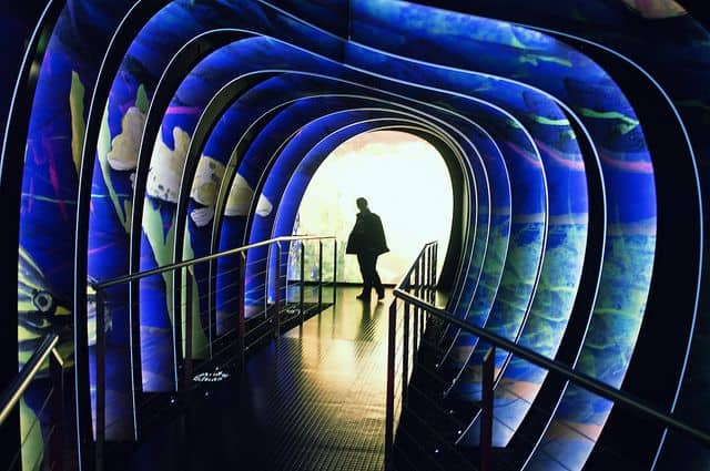 מנהרה פסיכודלית, איש במנהרה עם צבעים משתקפים