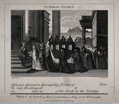 כרטיס ללוייה, אנגליה 1809