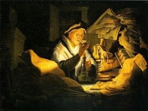 """רמברנדט, """"המשל על השוטה העשיר"""", שמן על בד, 1627. באדיבות גמאלד-גאלרי, ברלין"""
